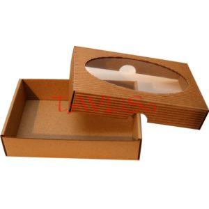 Krabička hnědá 150x100x35 mm, víko s okénkem