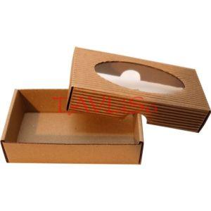 Krabička hnědá 130x70x35 mm, víko s okénkem